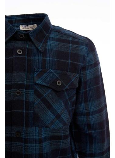 DeFacto Erkek Çocuk Kare Desenli Uzun Kol Gömlek Mavi